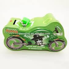return gifts for kids birthday party customer embossed motorbike shape metal tin money saving box