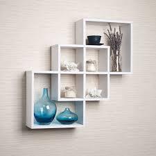 Wall Bookshelves Danya B Ff6013w Intersecting Squares Decorative Wall Shelf White
