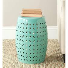 patio stool: lattice petal robins egg blue ceramic patio stool