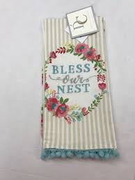 details about pink aqua embroidered kitchen tea towel set of 2 cotton