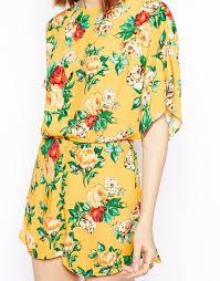 Vintage Floral Print Asos Kimono Playsuit In Vintage Floral Print In Yellow Lyst