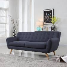 mid century modern furniture living room. Amazon.com: Mid-Century Modern Linen Fabric Sofa, Loveseat In Colors Light  Grey, Polo Blue, Sky Blue, Yellow And Red (Polo 3 Seater): Kitchen \u0026 Dining Mid Century Modern Furniture Living Room E