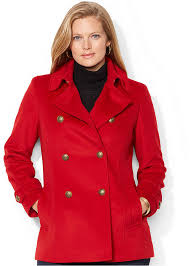 women s fashion outerwear pea coats red pea coats lauren ralph lauren plus size double ted pea coat
