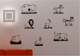 8 x cartoon animal stickers bedroom kids childrens wall art sticker vinyl decal