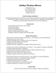 40 Subway Shift Leader Resume Templates Try Them Now MyPerfectResume Stunning Subway Resume