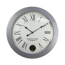 yosemite home decor sleek and smooth distressed silver grey oversized wall clock