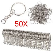50pcs 25mm polished silver keyring keychain split ring short chain key rings diy