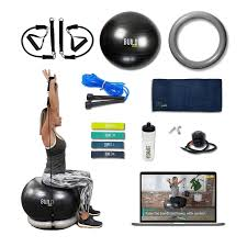 exercise ball with resistance bands and ility base workout set jump rope water bottle pilates bands