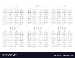 Calendar 2018 2019 2020 2021 2022 2023