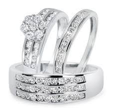 1 1 2 Ct T W Diamond Trio Matching Wedding Ring Set 14k White Gold