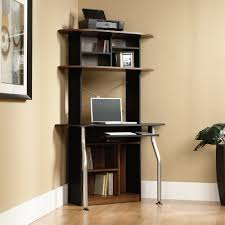 space saving office desk. Sweet Decorating Space Saving Office Furniture. Corner High Black Wooden Desk With Brown Shelves Above