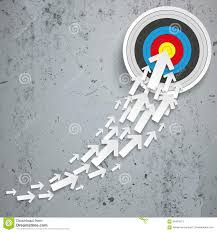 White Arrows Growth Chart Target Concrete Stock Vector