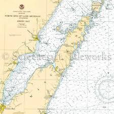 Green Bay Depth Chart Wisconsin Sturgeon Bay Kewaunee Nautical Chart Decor