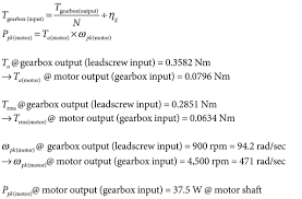 where n gear ratio ηg gearbox efficiency ppk peak power w ta motor torque required at motor shaft during acceleration nm trms rms torque