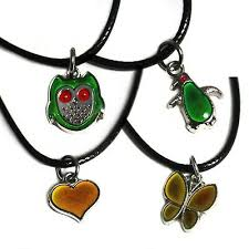 Mood Necklace Chart Thermochromic Colour Changing Animal Mood Necklace Pendant