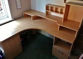 pine effect mdf large computer corner desk workstation home office file drawer cupboard cubbie holes