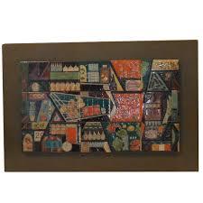 vintage ceramic tile wall hanging for