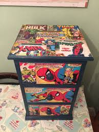 Marvel Bedroom Furniture Upcycled Chest Of Drawers With Marvel Comic Decoupage Decoupage