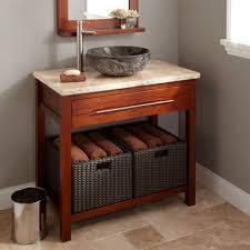 Single Vessel Sink Bathroom Vanity Brown Stained Mahogany Vanity Table For Bathroom With Gray Marble