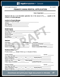 Rent Lease Application Form Pennsylvania Rental Application Form Create A Free Pa