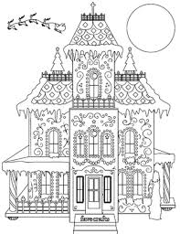 Series of 4 terrace house interior illustration colouring pages for instant pdf download. Breathtaking Gingerbread House Coloring Page Pdf Favecrafts Com