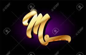 Letter For Banner M Alphabet Letter Logo In Gold Golden 3d Metal Beautiful Typography