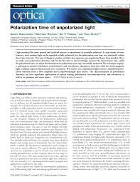 Examples Of Polarized And Unpolarized Light Pdf Polarization Time Of Unpolarized Light