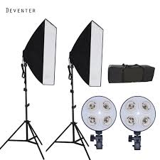 photography photo portrait studio light continuous lighting kit 2softbox diffuser 2light stand tripod 8 e27