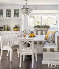 breakfast nook furniture ideas. Transitional White Breakfast Nook With Striped Banquette Seating (Top Design Ideas) Furniture Ideas