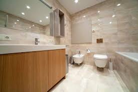bathroom remodel idea featured unique wall tile also floating toilet plus trendy wooden cabinet design