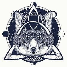 Vektorová Grafika Fox Viking Tetování A Tričko Design Fox Viking