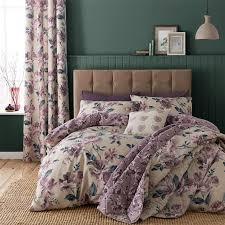 painted fl duvet quilt cover set bed linen double king size bedding purple