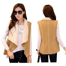 women winter sherpa fur vest fashion jackets sleeveless