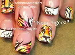 Nail Art Designs - Neon Tiger Nail Art - Life of Pi