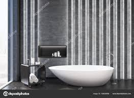 Graue Badezimmer Interieur Nische Closeup Stockfoto