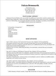 Resume Templates Personal Banker Professional Experience Personal