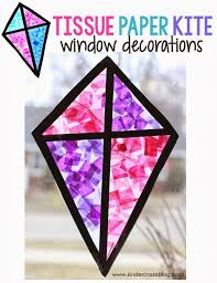 kite stained glass window craft made with tissue paper and clear contact paper