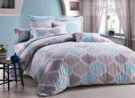 Bedding Rustic Wavy Shape in Grey and Light Blue Cotton 4 Piece
