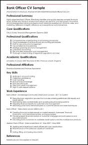 Professional Skills Resume Bank Officer Cv Sample Myperfectcv