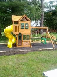 Big Backyard Ashberry Playset From Toys R Us Installed In Big Backyard Ashberry Wood Swing Set