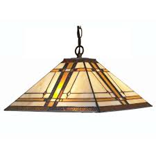 Amora Lighting Tiffany Style 2 Light Pendant Mission Hanging Lamp 14 In Wide