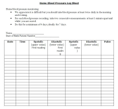 Blood Pressure Log Sheet Chart Template Daily Tracking Printable For