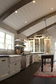 sloped ceiling lighting. Farmhouse Ceiling Kitchen Rustic With Rug Recessed Lighting Sloped