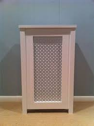 poplar enclosure with white painted aluminum screen gas heater cover