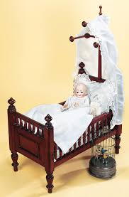 fancy wooden baby doll bed with canopy