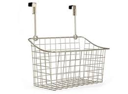 A chrome plated wire storage basket WTB-9 with two hooks for hanging over  any