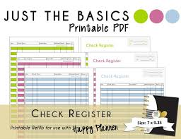 Check Register In Pdf Mesmerizing Happy Planner PRINTABLE Check Register Planner Inserts PDF Etsy