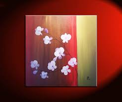beautiful orchid painting red and gold with delicate flowers original wall art home decor square custom on pink and gold flower wall art with beautiful orchid painting red and gold with delicate flowers