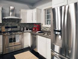 Small Red Kitchen Appliances Stainless Steel Appliances Dark Gray Countertops And A Gray