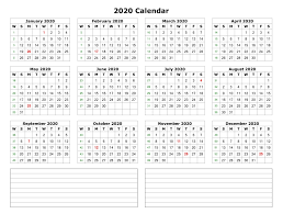 One Sheet Calendar 2020 2020 One Page Calendar With Notes Printable Yearly